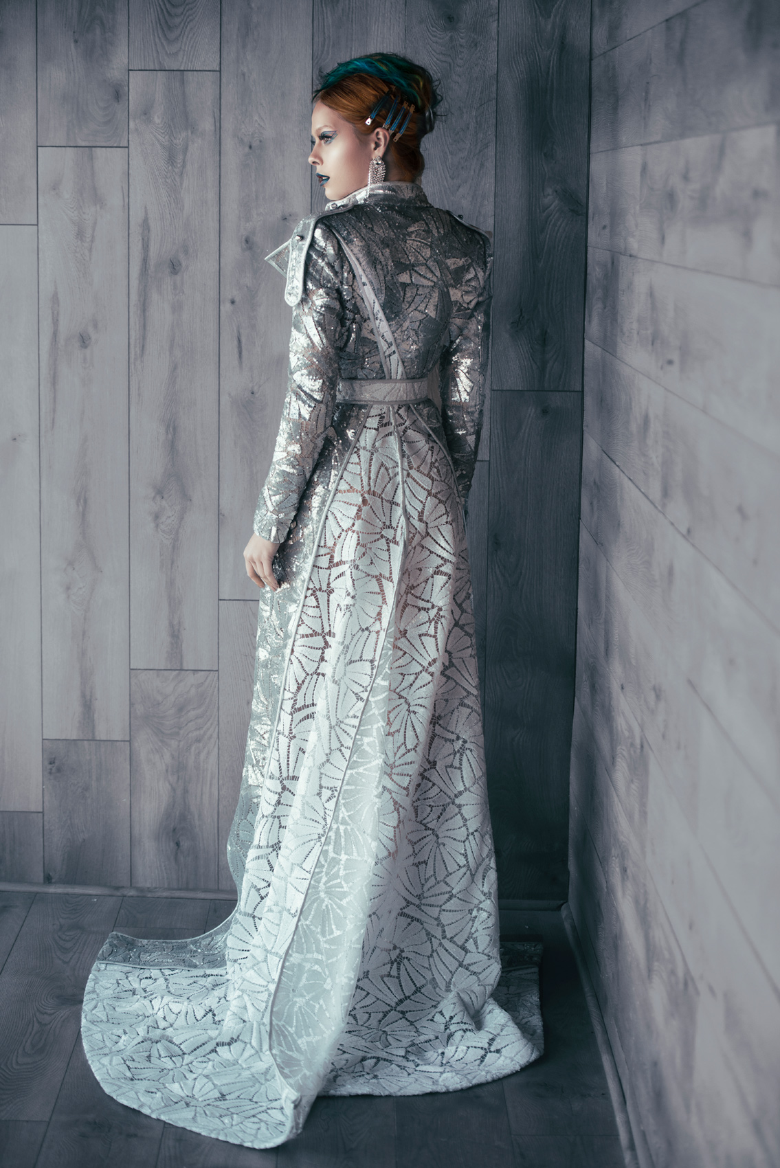Gao Republic - Silver Gown Spring 2020, Makeup: Alexis Williams and Amanda Thorsson, Model: Daria Pershina, IG: @dpershina