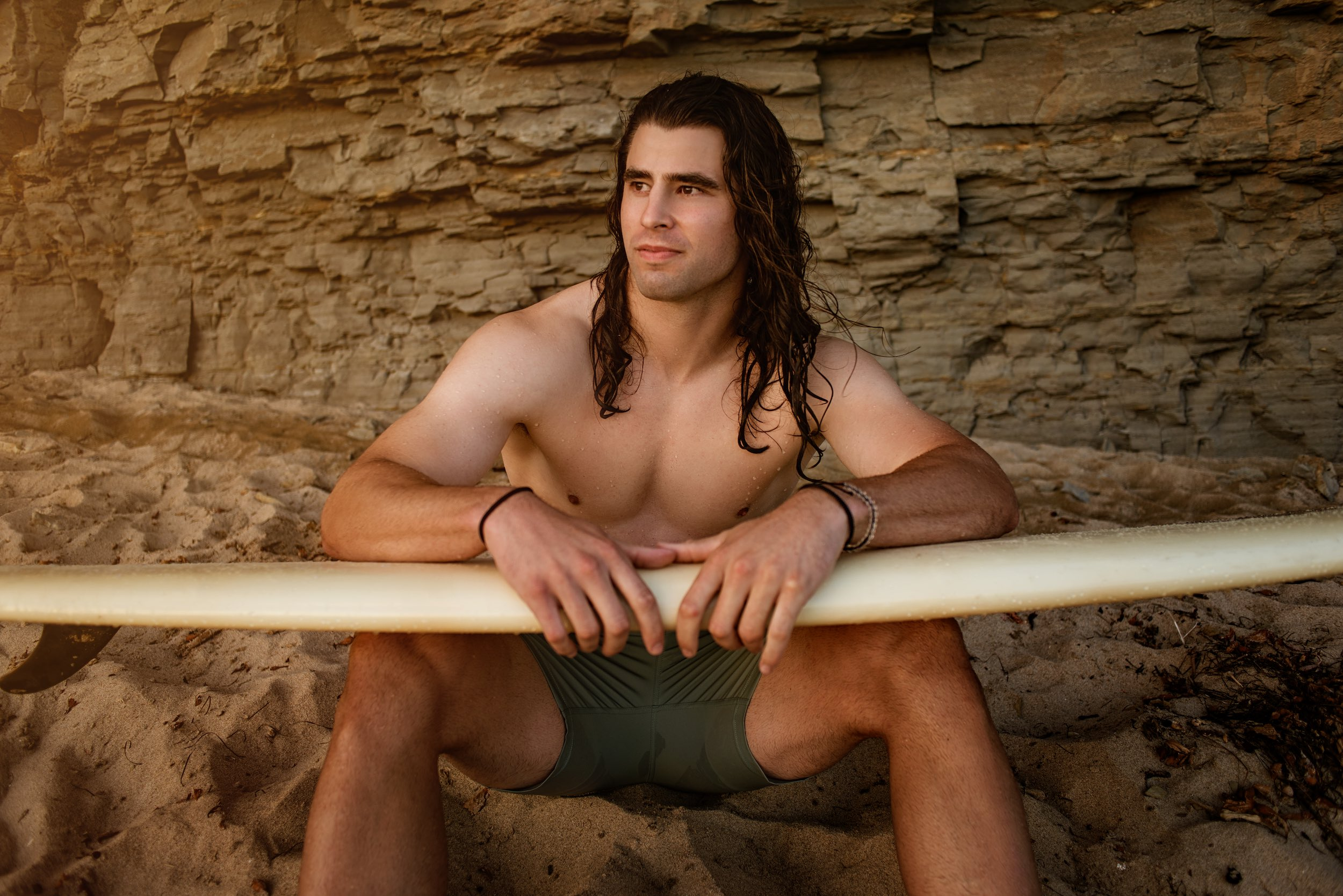 Ronan with Surf Board - Peter Lefevre Photography - July 2020